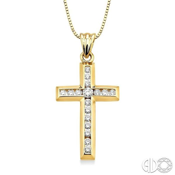 1/2 Ctw Round Cut Diamond Cross Pendant in 10K Yellow Gold with Chain Robert Irwin Jewelers Memphis, TN