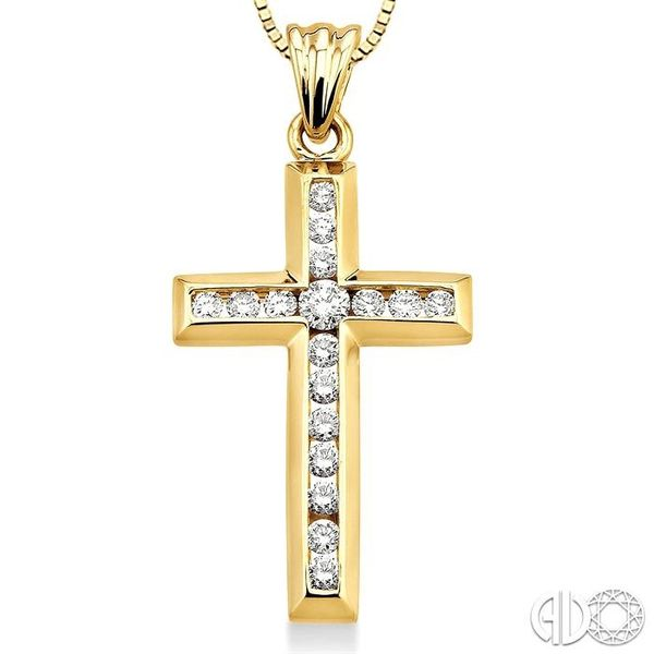 1/2 Ctw Round Cut Diamond Cross Pendant in 10K Yellow Gold with Chain Image 3 Robert Irwin Jewelers Memphis, TN