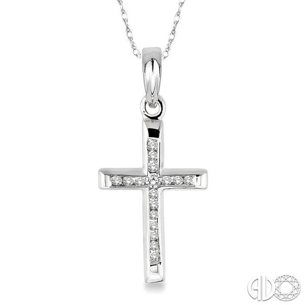 1/10 Ctw Single Cut Diamond Cross Pendant in 10K White Gold with Chain Robert Irwin Jewelers Memphis, TN