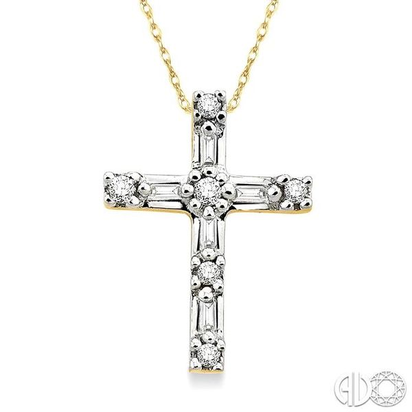 1/10 Ctw Diamond Cross Pendant in 14K Yellow Gold with Chain Robert Irwin Jewelers Memphis, TN