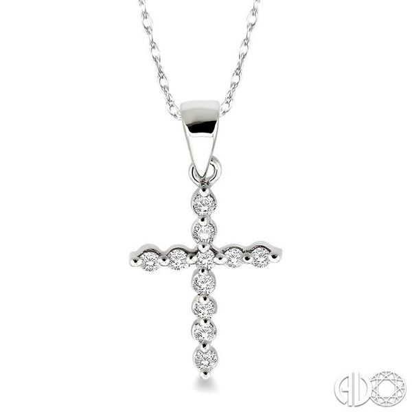1/10 Ctw Round Cut Diamond Cross Pendant in 14K White Gold with Chain Robert Irwin Jewelers Memphis, TN