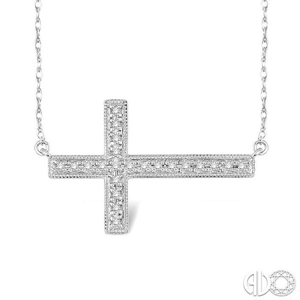 1/5 Ctw Round Cut Sideway Cross Pendant in 10K White Gold with Chain Robert Irwin Jewelers Memphis, TN