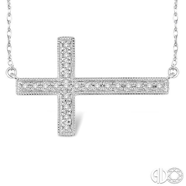 1/5 Ctw Round Cut Sideway Cross Pendant in 10K White Gold with Chain Image 3 Robert Irwin Jewelers Memphis, TN