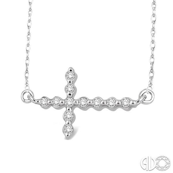 1/10 Ctw Round Cut Sideway Cross Pendant in 10K White Gold with Chain Image 2 Robert Irwin Jewelers Memphis, TN