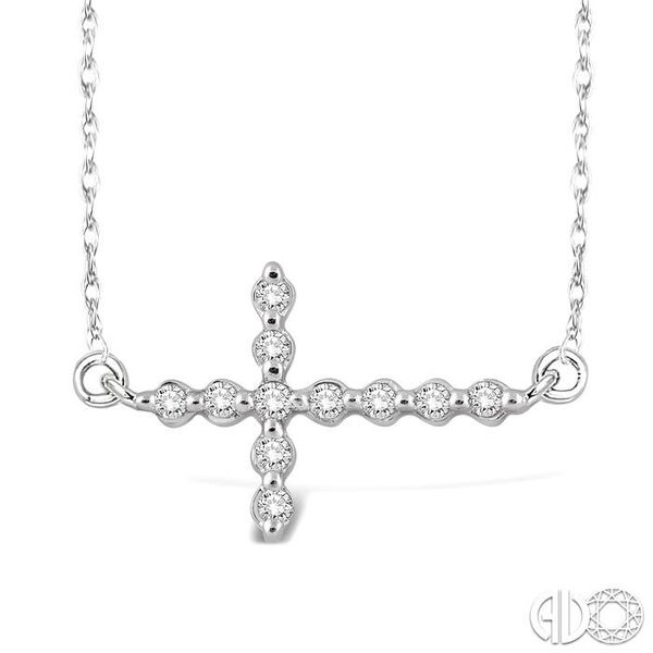 1/10 Ctw Round Cut Sideway Cross Pendant in 10K White Gold with Chain Robert Irwin Jewelers Memphis, TN