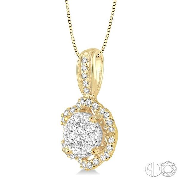 1/2 Ctw Round Cut Diamond Lovebright Pendant in 14K Yellow and White Gold with Chain Image 2 Robert Irwin Jewelers Memphis, TN