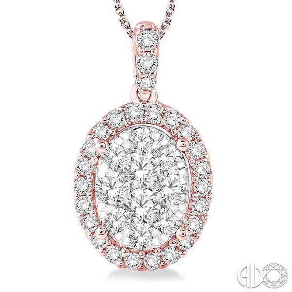 2 Ctw Oval Shape Diamond Lovebright Pendant in 14K Rose and White Gold with Chain Image 3 Robert Irwin Jewelers Memphis, TN