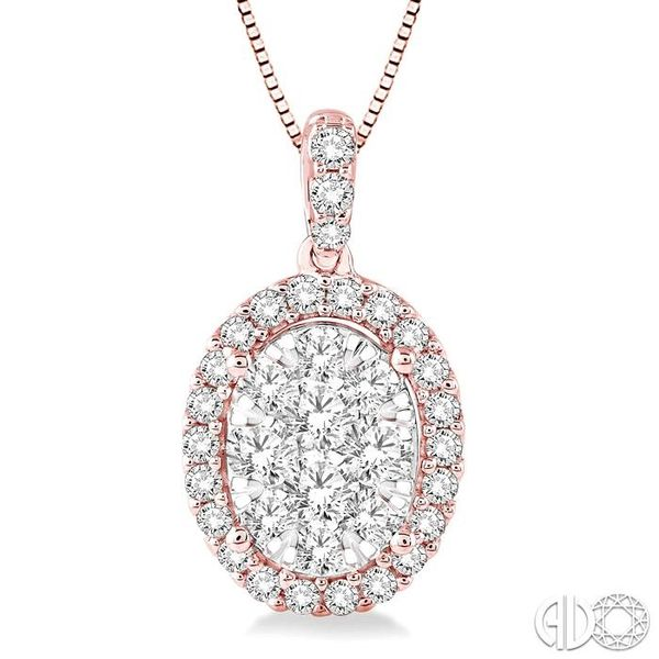 1 Ctw Oval Shape Diamond Lovebright Pendant in 14K Rose and White Gold with Chain Robert Irwin Jewelers Memphis, TN