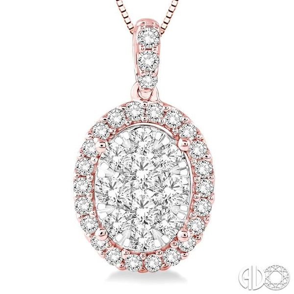 1 Ctw Oval Shape Diamond Lovebright Pendant in 14K Rose and White Gold with Chain Image 3 Robert Irwin Jewelers Memphis, TN