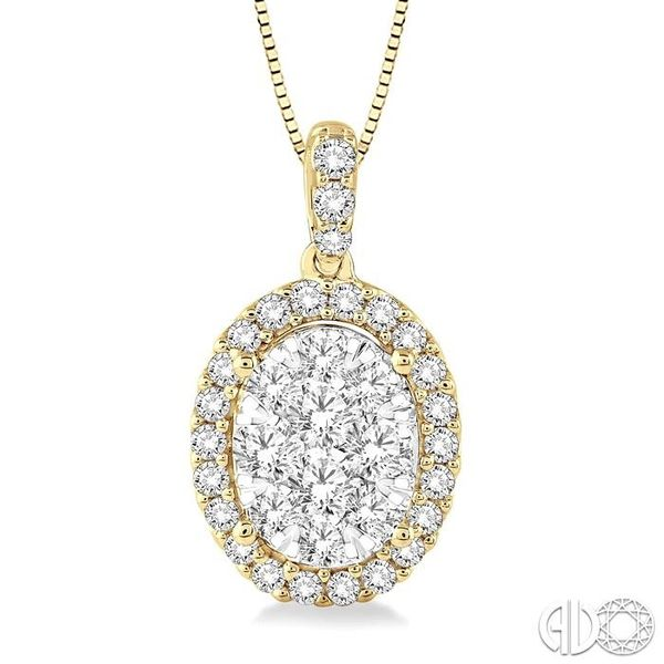 3/4 Ctw Oval Shape Diamond Lovebright Pendant in 14K Yellow Gold with Chain Robert Irwin Jewelers Memphis, TN