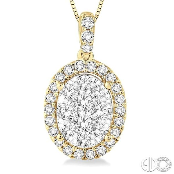 3/4 Ctw Oval Shape Diamond Lovebright Pendant in 14K Yellow Gold with Chain Image 3 Robert Irwin Jewelers Memphis, TN