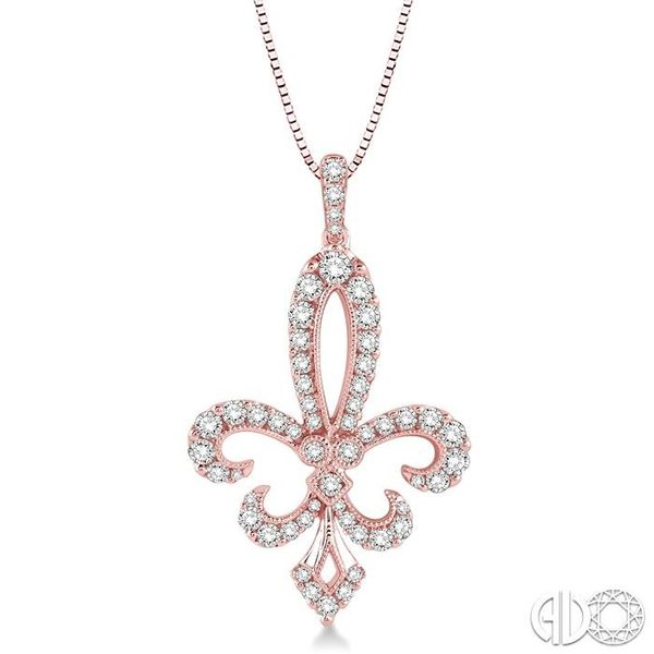 3/4 Ctw Round Cut Diamond Fleur De Lis Pendant in 14K Rose Gold with Chain Robert Irwin Jewelers Memphis, TN