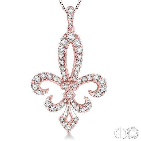 3/4 Ctw Round Cut Diamond Fleur De Lis Pendant in 14K Rose Gold with Chain Image 3 Robert Irwin Jewelers Memphis, TN