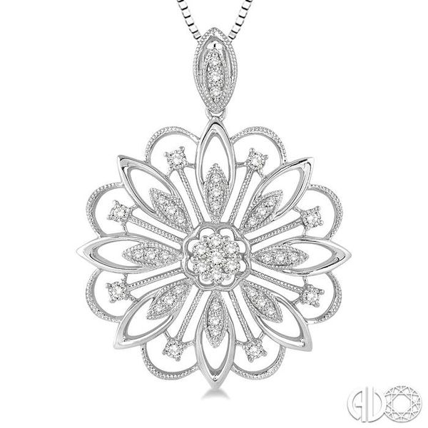 1/3 Ctw Round Cut Diamond Lovebright Pendant in 14K White Gold with Chain Image 3 Robert Irwin Jewelers Memphis, TN