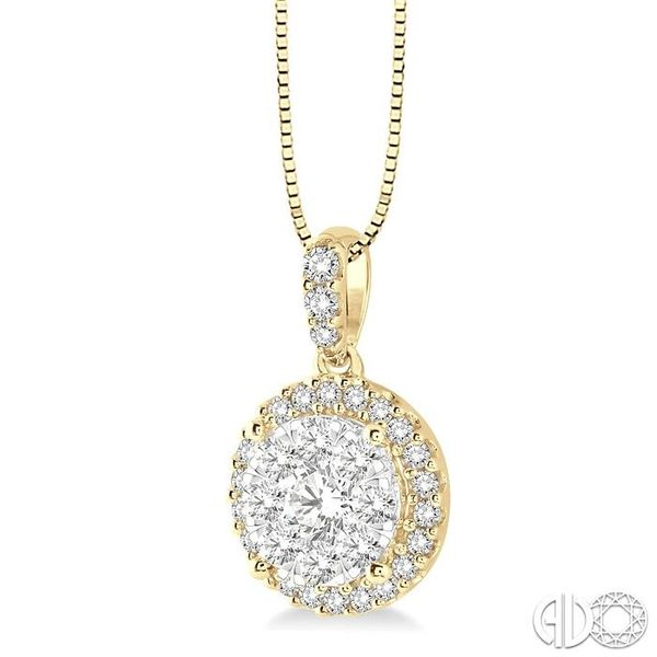 1/3 Ctw Round Cut Diamond Lovebright Pendant in 14K Yellow and White Gold with Chain Image 2 Robert Irwin Jewelers Memphis, TN
