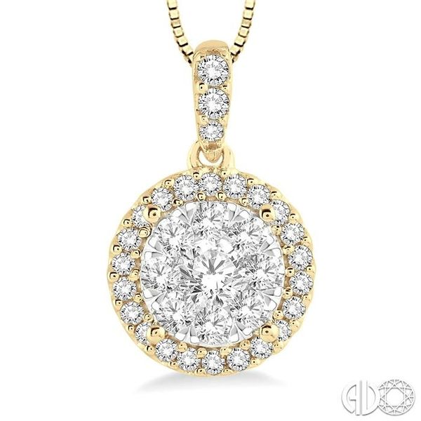 1/3 Ctw Round Cut Diamond Lovebright Pendant in 14K Yellow and White Gold with Chain Image 3 Robert Irwin Jewelers Memphis, TN