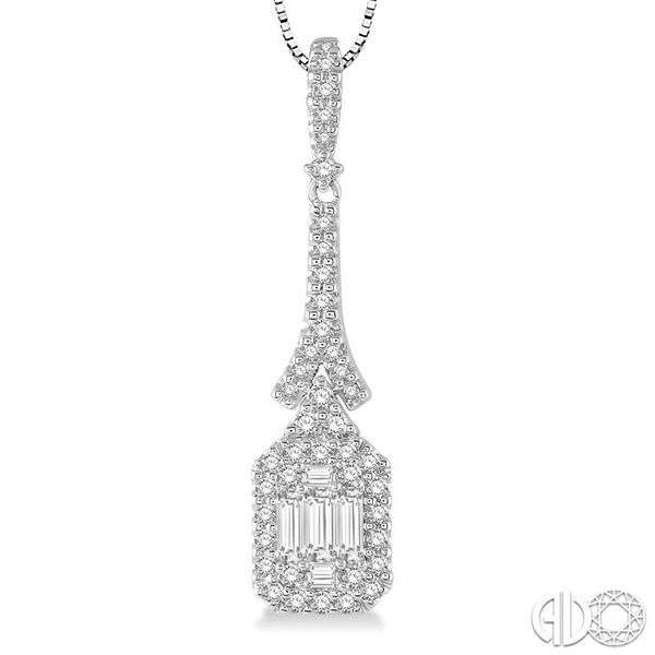 1/2 Ctw Baguette & Round Cut Diamond Pendant in 14K White Gold with chain Image 3 Robert Irwin Jewelers Memphis, TN