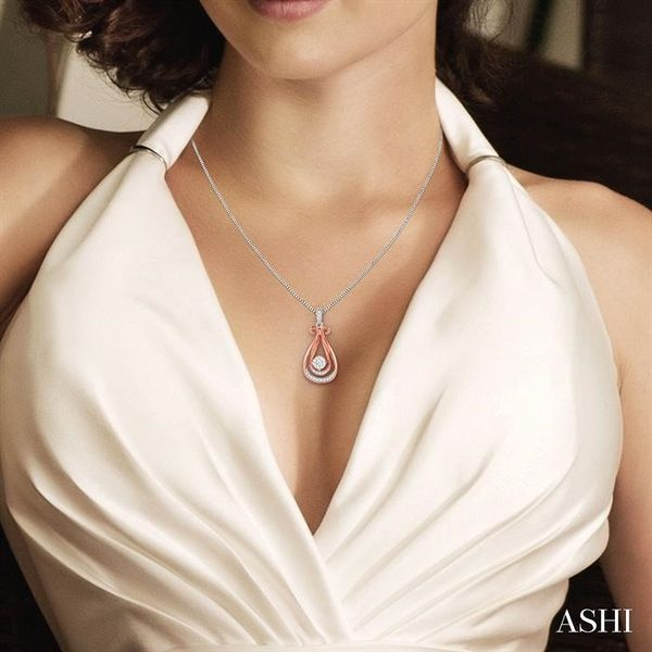 1/5 Ctw Lovebright Round Cut Diamond Pendant in 14K White and Rose Gold with Chain Image 4 Robert Irwin Jewelers Memphis, TN