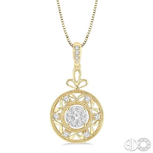 1/2 Ctw Round Cut Diamond Lovebright Pendant in 14K Yellow and White Gold with Chain Robert Irwin Jewelers Memphis, TN