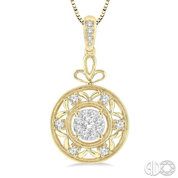 1/2 Ctw Round Cut Diamond Lovebright Pendant in 14K Yellow and White Gold with Chain Image 3 Robert Irwin Jewelers Memphis, TN