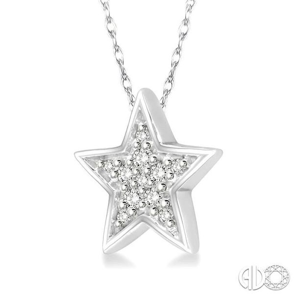 1/10 Ctw Star Cutout Round Cut Diamond Pendant With Link Chain in 10K White Gold Image 2 Robert Irwin Jewelers Memphis, TN