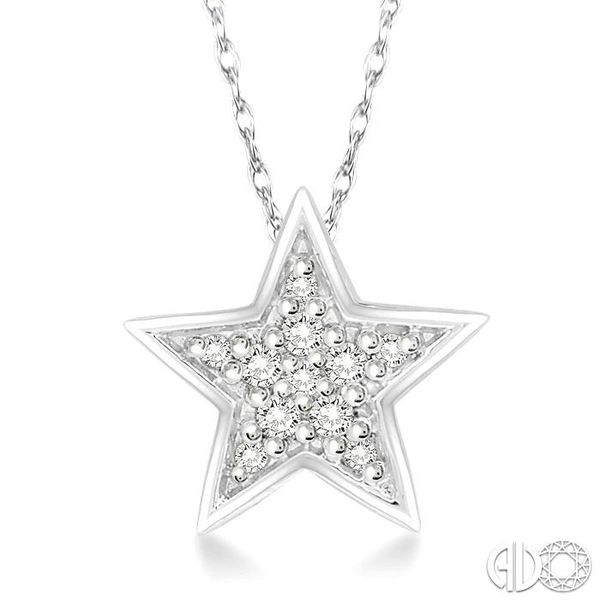 1/10 Ctw Star Cutout Round Cut Diamond Pendant With Link Chain in 10K White Gold Robert Irwin Jewelers Memphis, TN