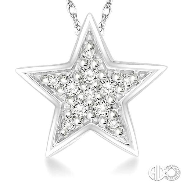 1/10 Ctw Star Cutout Round Cut Diamond Pendant With Link Chain in 10K White Gold Image 3 Robert Irwin Jewelers Memphis, TN