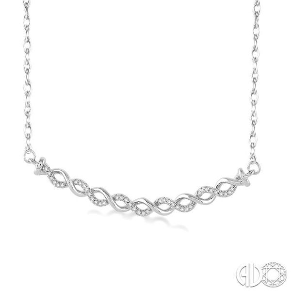 1/6 Ctw Round Cut Diamond Twisted Pendant in 10K White Gold with Chain Image 2 Robert Irwin Jewelers Memphis, TN