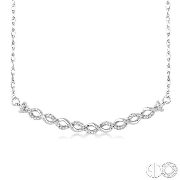 1/6 Ctw Round Cut Diamond Twisted Pendant in 10K White Gold with Chain Robert Irwin Jewelers Memphis, TN