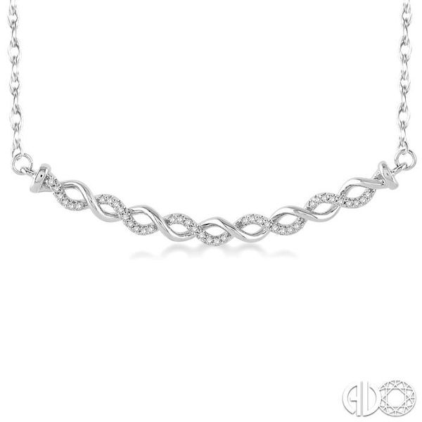 1/6 Ctw Round Cut Diamond Twisted Pendant in 10K White Gold with Chain Image 3 Robert Irwin Jewelers Memphis, TN