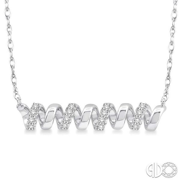 1/10 Ctw Spiral Round Cut Diamond Pendant With Link Chain in 10K White Gold Robert Irwin Jewelers Memphis, TN
