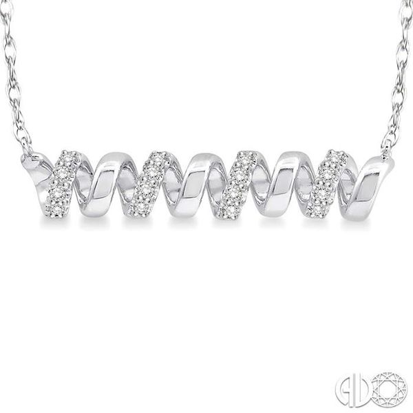 1/10 Ctw Spiral Round Cut Diamond Pendant With Link Chain in 10K White Gold Image 3 Robert Irwin Jewelers Memphis, TN