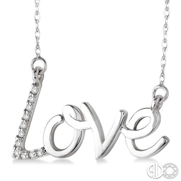 1/20 Ctw Single Cut Diamond Love Pendant in 14K White Gold with Chain Image 2 Robert Irwin Jewelers Memphis, TN