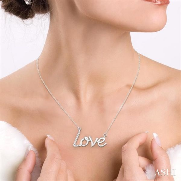 1/20 Ctw Single Cut Diamond Love Pendant in 14K White Gold with Chain Image 4 Robert Irwin Jewelers Memphis, TN