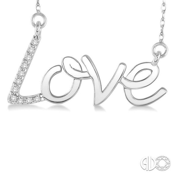 1/20 Ctw Single Cut Diamond Love Pendant in 14K White Gold with Chain Image 3 Robert Irwin Jewelers Memphis, TN