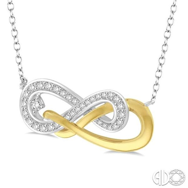 1/5 Ctw Round Cut Diamond Infinity Necklace in 14K White and Yellow Gold Image 2 Robert Irwin Jewelers Memphis, TN