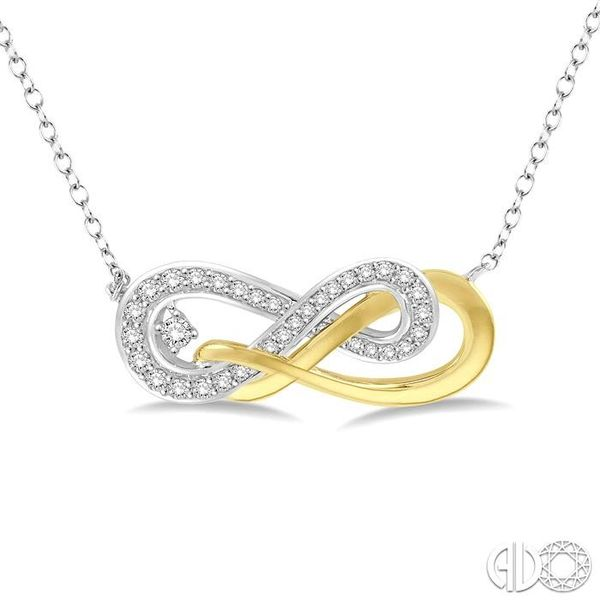 1/5 Ctw Round Cut Diamond Infinity Necklace in 14K White and Yellow Gold Robert Irwin Jewelers Memphis, TN