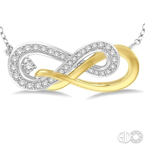 1/5 Ctw Round Cut Diamond Infinity Necklace in 14K White and Yellow Gold Image 3 Robert Irwin Jewelers Memphis, TN