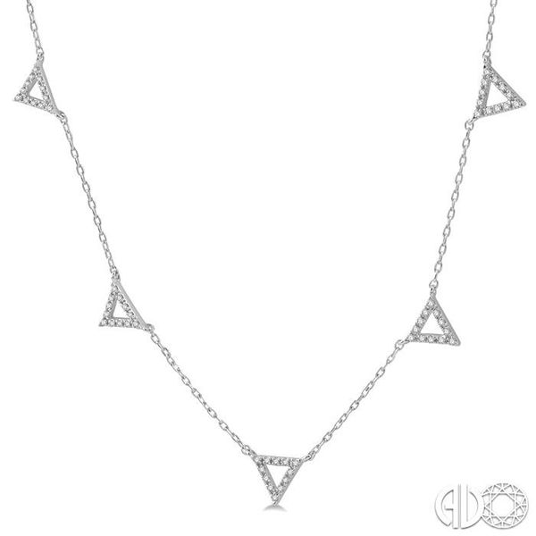 1/6 Ctw Five Triangle Round Cut Diamond Necklace in 10K White Gold Image 2 Robert Irwin Jewelers Memphis, TN