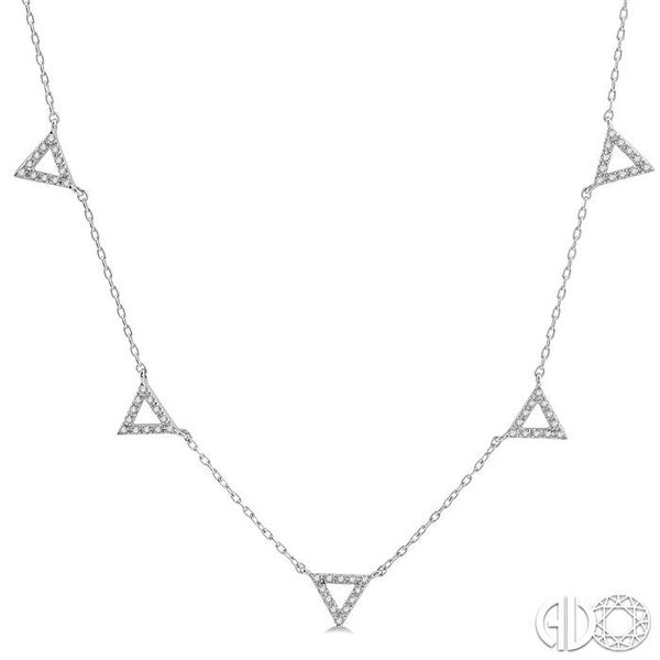 1/6 Ctw Five Triangle Round Cut Diamond Necklace in 10K White Gold Robert Irwin Jewelers Memphis, TN