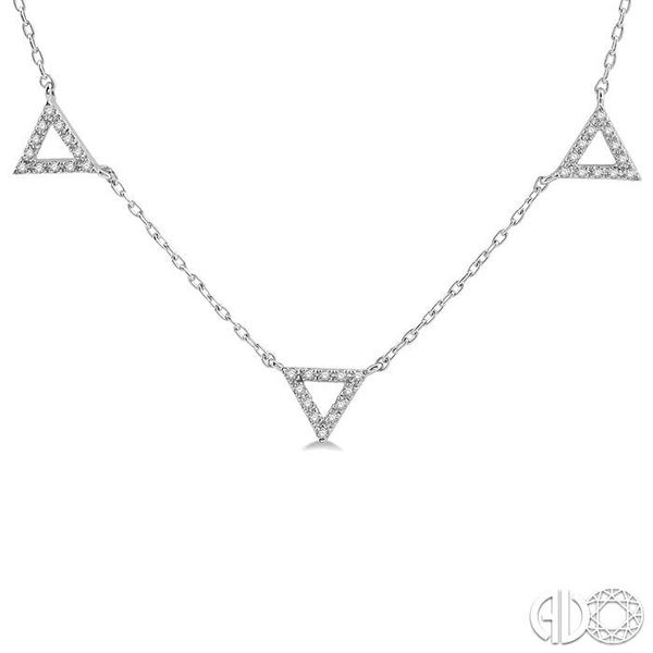 1/6 Ctw Five Triangle Round Cut Diamond Necklace in 10K White Gold Image 3 Robert Irwin Jewelers Memphis, TN