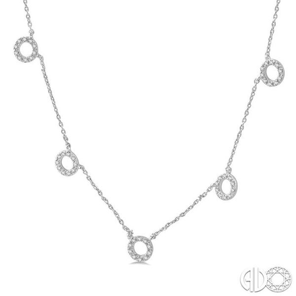 1/6 Ctw Circle Cutout Round Cut Diamond Necklace in 10K White Gold Image 2 Robert Irwin Jewelers Memphis, TN