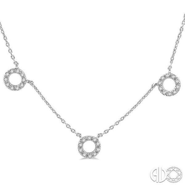 1/6 Ctw Circle Cutout Round Cut Diamond Necklace in 10K White Gold Image 3 Robert Irwin Jewelers Memphis, TN