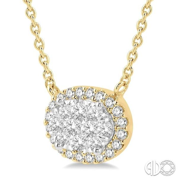 1 ctw Oval Shape Round Cut Diamond Lovebright Necklace in 14K Yellow and White Gold Image 2 Robert Irwin Jewelers Memphis, TN
