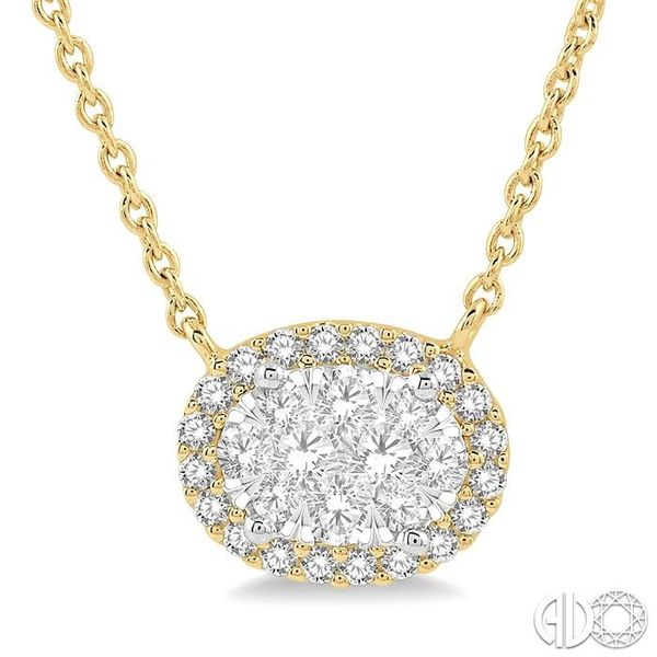 1 ctw Oval Shape Round Cut Diamond Lovebright Necklace in 14K Yellow and White Gold Robert Irwin Jewelers Memphis, TN