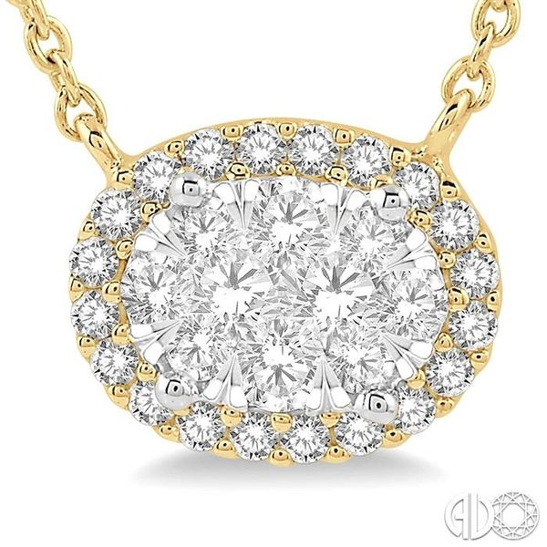 1 ctw Oval Shape Round Cut Diamond Lovebright Necklace in 14K Yellow and White Gold Image 3 Robert Irwin Jewelers Memphis, TN