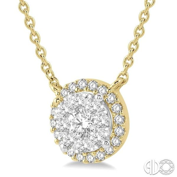1 ctw Circular Pendant Round Cut Diamond Lovebright Necklace in 14K Yellow and White Gold Image 2 Robert Irwin Jewelers Memphis, TN