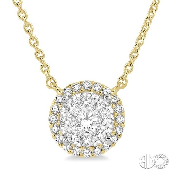 1 ctw Circular Pendant Round Cut Diamond Lovebright Necklace in 14K Yellow and White Gold Robert Irwin Jewelers Memphis, TN