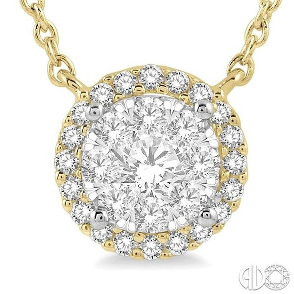 1 ctw Circular Pendant Round Cut Diamond Lovebright Necklace in 14K Yellow and White Gold Image 3 Robert Irwin Jewelers Memphis, TN