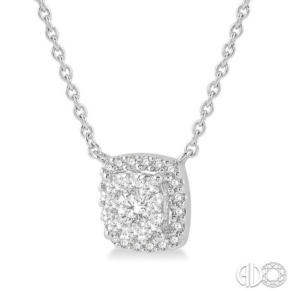 3/4 Ctw Cushion Shape Pendant Lovebright Diamond Necklace in 14K White Gold Image 2 Robert Irwin Jewelers Memphis, TN